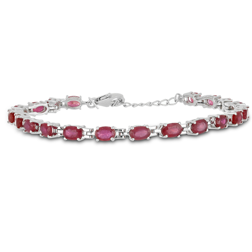 10 CT GLASS FILLED RUBY 19 CM SILVER BRACELET WITH FISH LOCK #VB015929