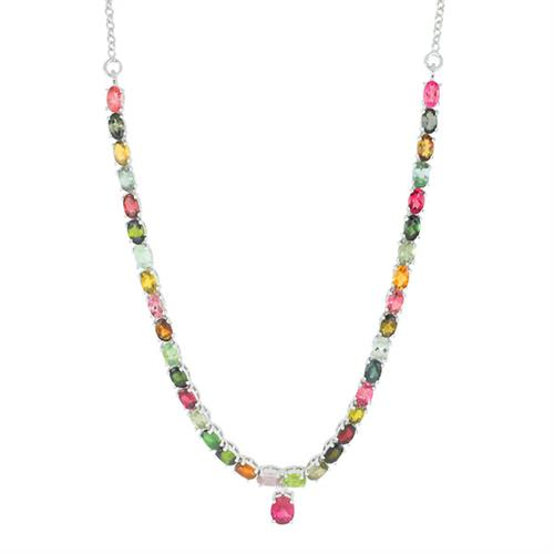 9.35 CT MOZAMBIQUE MULTI TOURMALINE SILVER NECKLACE WITH FISH LOCK #VNECK015177