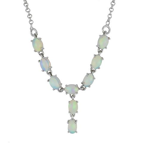4.5 CT ETHIOPIAN OPAL 45 CM SILVER NECKLACE WITH FISH LOCK #V