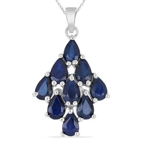 4.50 CT AUSTRALIAN BLUE SAPPHIRE SILVER PENDANT #VP014280