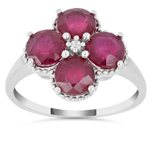 4.40 CT GLASS FILLED RUBY SILVER RING #VR014775