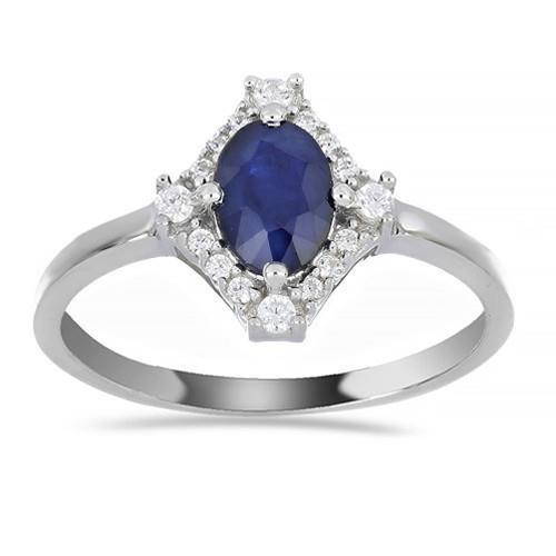 0.72 CT AUSTRALIAN BLUE SAPPHIRE SILVER RINGS #VR014289