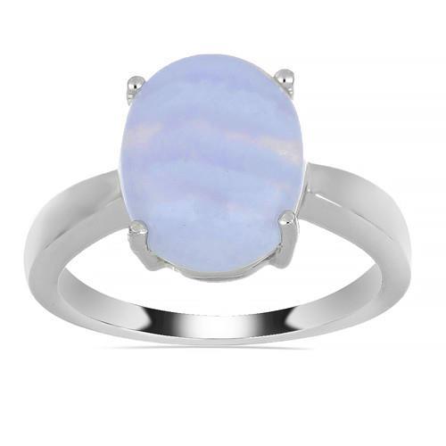 3.75 CT KALAHARI BLUE LACE AGATE SILVER RINGS #VR013542