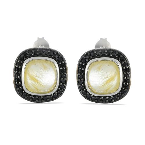 5.00 CT GOLDEN RUTILE SILVER EARRINGS WITH BLACK RHODIUM PRONGS #VE031714