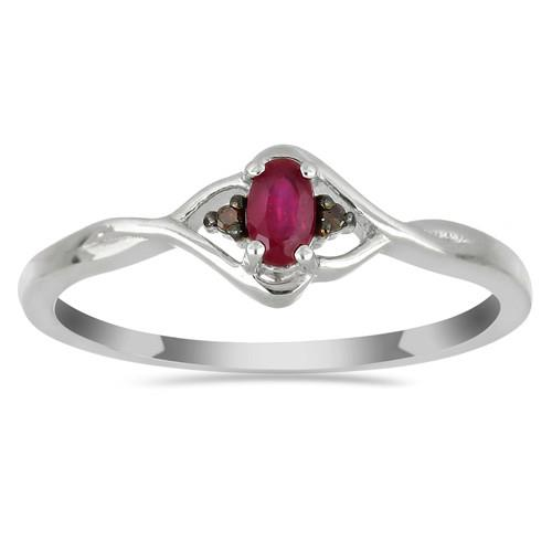 0.23 CT GLASS FILLED RUBY SILVER RING WITH BLACK RHODIUM PRONGS #VR018541