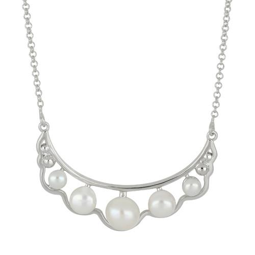 13.20 CT WHITE PEARL SILVER NECKLACE #VNECKLACE029617