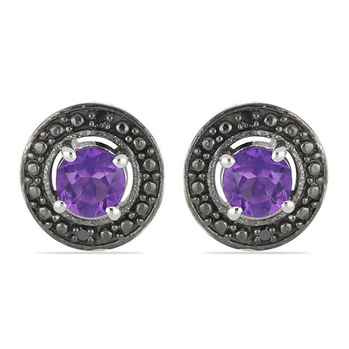 1.10 CT AFRICAN AMETHYST SILVER EARRING WITH BLACK RHODIUM #VE018400