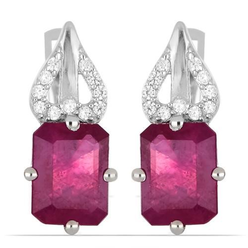 4.50 CT GLASS FILLED RUBY SILVER EARRINGS #VE013917