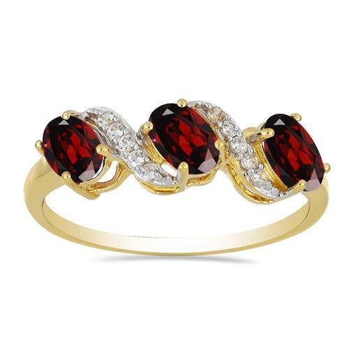 14K GOLD RINGS WITH 0.080 CT G-H,I2-I3 WHITE DIAMOND, 1.50 CT GARNET,  #VR033032