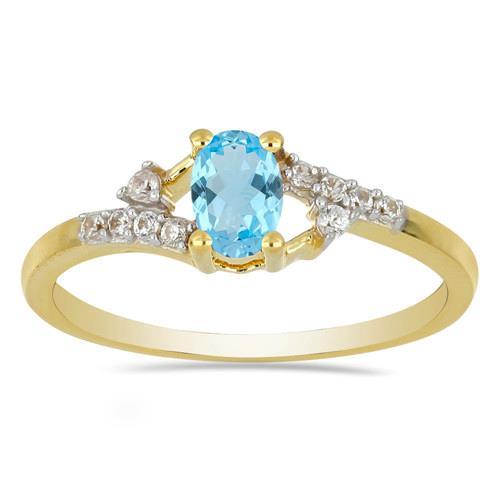 14K GOLD RINGS WITH 0.50 CT SWISS BLUE TOPAZ, 0.11 CT G-H,I2-I3 WHITE DIAMOND #VR033039