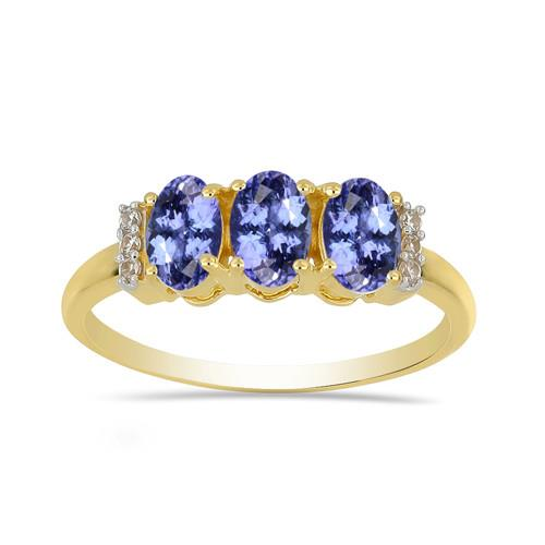 14K GOLD RING WITH 1.50 CT TANZANITE, 0.48 CT G-H,I2-I3 WHITE DIAMOND #VR033096