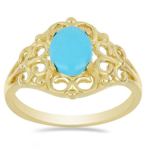 1.75 CT NATURAL BLUE TURQUOISE GOLD PLATED SILVER RINGS #VR033201