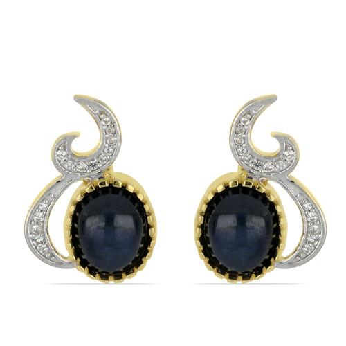 5.00 CT BLACK ONYX GOLD PLATED SILVER EARRINGS #VE033178