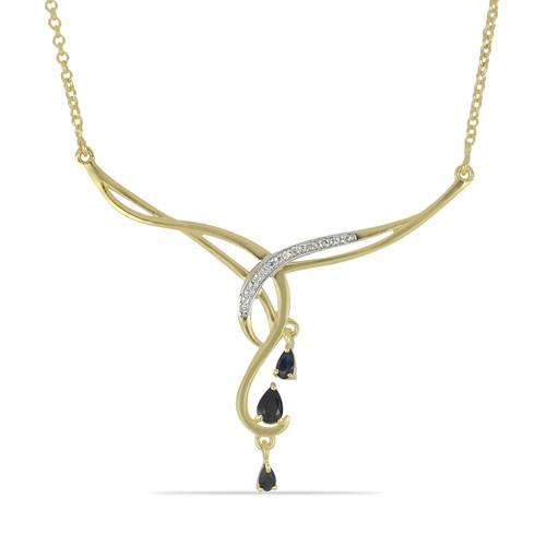 0.98 CT BLUE SAPPHIRE GOLD PLATED STERLING SILVER NECKLACE #VNECK033454