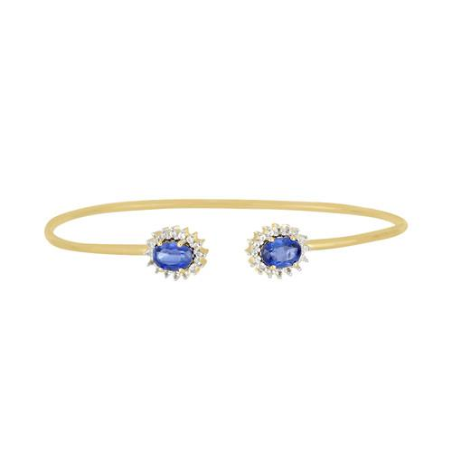 1.44 CT BLUE KYANITE GOLD PLATED SILVER BANGLES #VBN034560