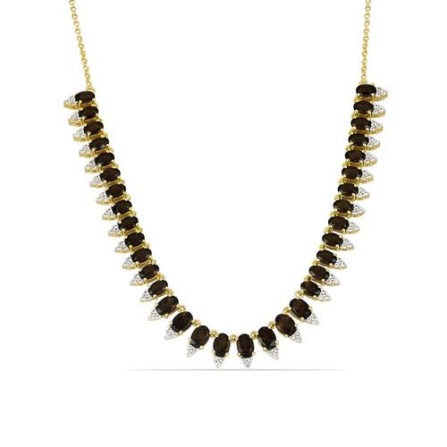 18.76 CT SMOKY GOLD PLATED SILVER NECKLACE  #VNECK034616
