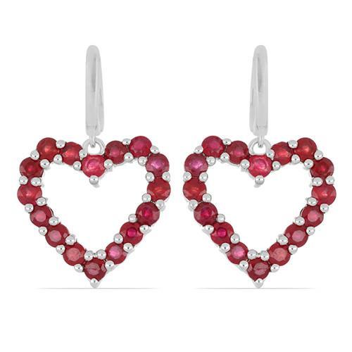 5.12 CT GLASS FILLED RUBY STERLING SILVER EARRINGS #VE029186