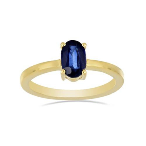 0.72 CT BLUE KYANITE GOLD PLATED SILVER RINGS #VR028599