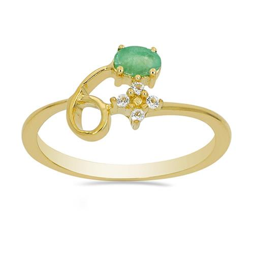 0.25 CT EMERALD GOLD PLATED STERLING SILVER RINGS #VR023519