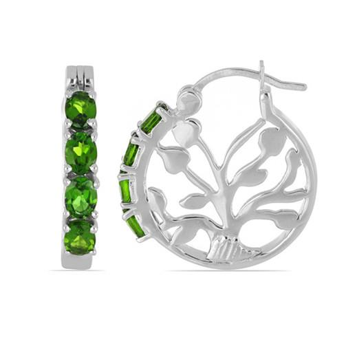 1.60 CT CHROME DIOPSIDE STERLING SILVER EARRINGS #VE016486