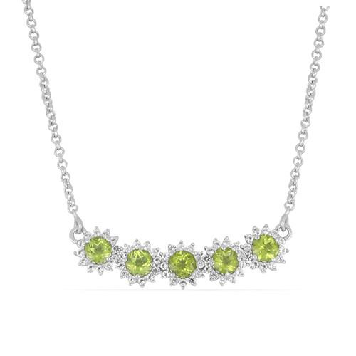 2.75 CT PERIDOT STERLING SILVER NECKLACE #VNECK014918