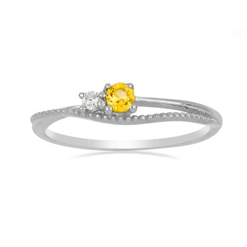 0.16 CT YELLOW SAPPHIRE STERLING SILVER RINGS #VR031121
