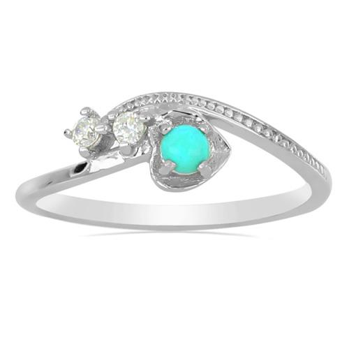 0.18 CT NATURAL TURQUOISE STERLING SILVER RINGS #VR031131