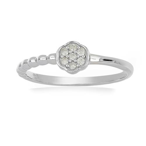0.084 CT G-H,I2-I3 WHITE DIAMOND DOUBLE CUT STERLING SILVER RINGS #VR036927