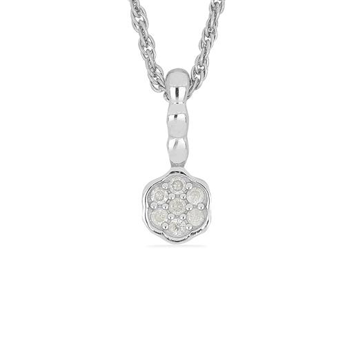 0.084 CT G-H,I2-I3 WHITE DIAMOND DOUBLE CUT STERLING SILVER PENDANT #VP036927