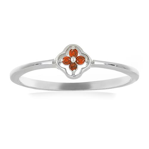 0.048 CT G-H, I2-I3 RED DIAMOND DOUBLE CUT STERLING SILVER RING #VR036930