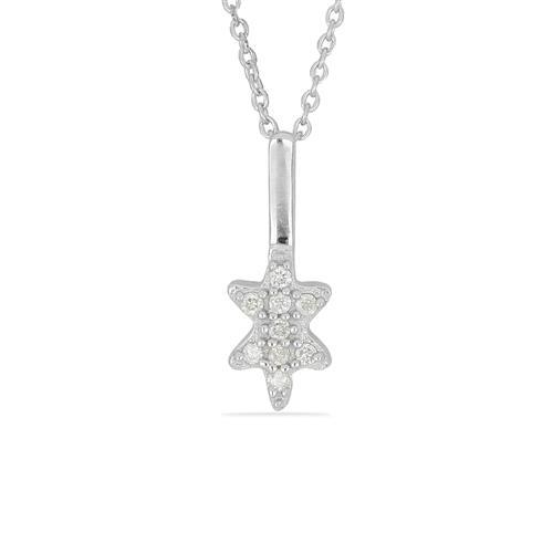 0.072 CT G-H, I2-I3 WHITE DIAMOND DOUBLE CUT STERLING SILVER PENDANT #VP036932
