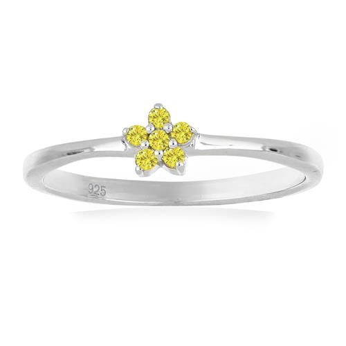 0.072 CT G-H, I2-I3 YELLOW DIAMOND DOUBLE CUT STERLING SILVER RING #VR036934