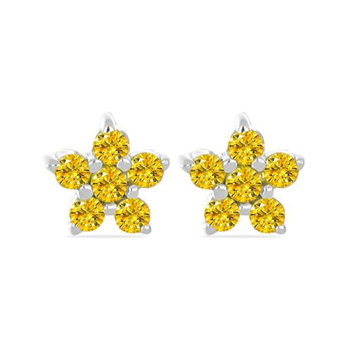0.144 CT G-H,I2-I3 YELLOW DIAMOND DOUBLE CUT STERLING SILVER EARRINGS #VE036934