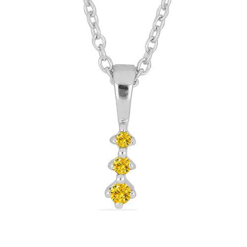 0.025 CT G-H, I2-I3 YELLOW DIAMOND DOUBLE CUT STERLING SILVER PENDANT #VP036937