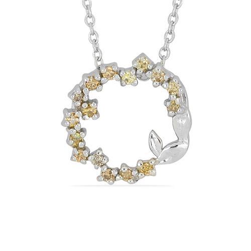 0.030 CT,G-H, I2-I3 CHAMPAGNE DIAMOND DOUBLE CUT STERLING SILVER PENDANT #VP036938