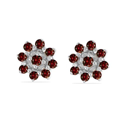 0.152 CT G-H,I2-I3 RED DIAMOND DOUBLE CUT STERLING SILVER EARRINGS #VE036940