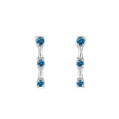 0.056 CT G-H, I2-I3 BLUE DIAMOND DOUBLE-CUT STERLING SILVER EARRING #VE036941