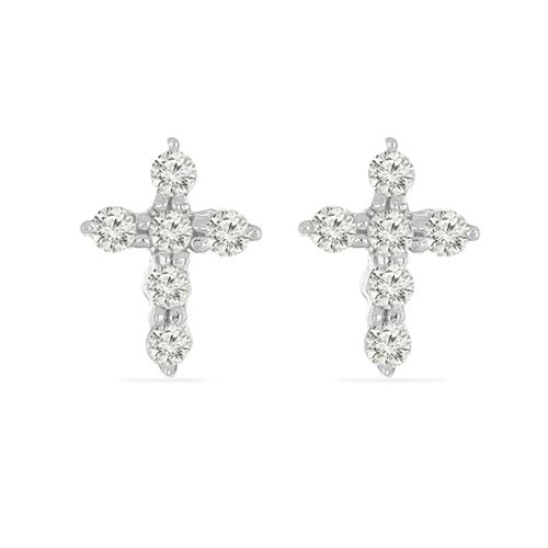 0.144 CT G-H, I2-I3 WHITE DIAMOND DOUBLE-CUT STERLING SILVER EARRING #VE036942