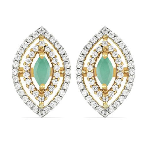 14K GOLD EARRINGS WITH 0.48 CT EMERALD, 0.73 CT G-H,I2-I3 WHITE DIAMOND #VJMC2887A