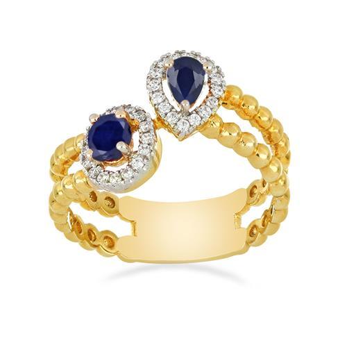 14K GOLD RINGS WITH 0.40 CT BLUE SAPPHIRE, 0.16 CT G-H,I2-I3 WHITE DIAMOND #VJR8448